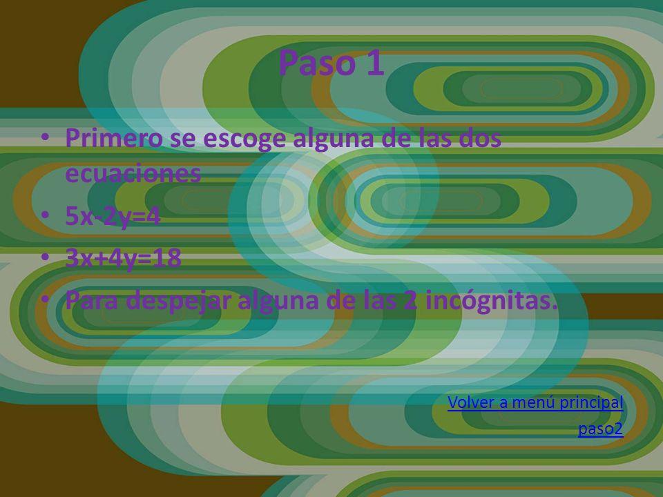 Paso 2 En este caso escogimos la primera ecuación para despejar X y queda así… 5x-2y=4 5x=4+2y X=4+2Y 5 Volver a menú principal Paso 3