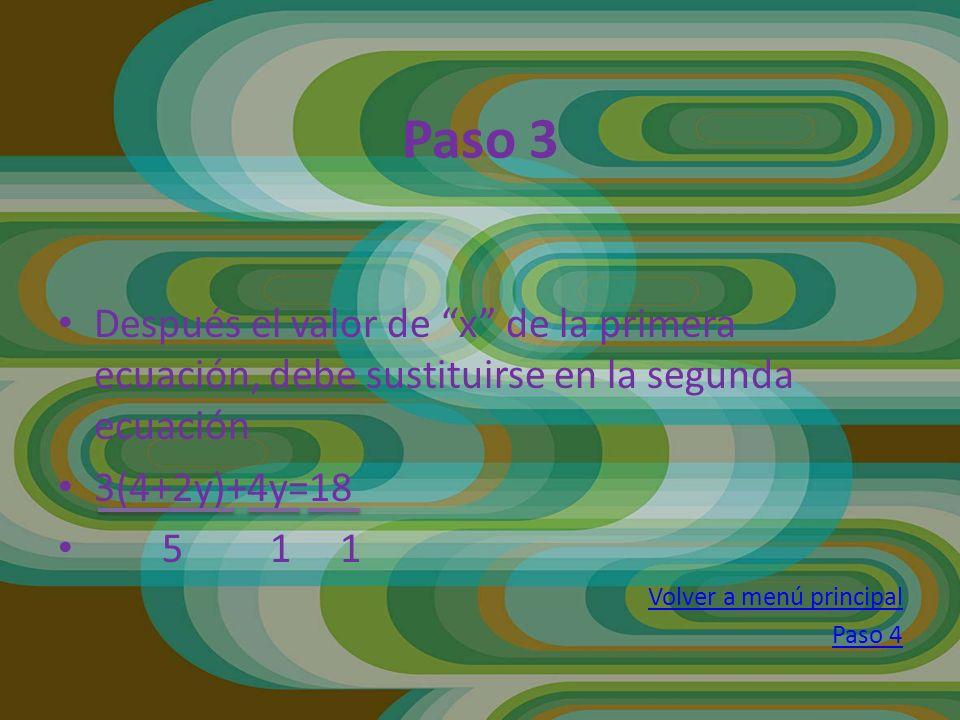 Después el valor de x de la primera ecuación, debe sustituirse en la segunda ecuación 3(4+2y)+4y=18 5 1 1 Volver a menú principal Paso 4