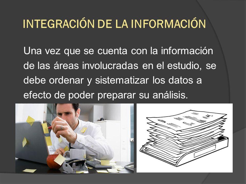 INTEGRACIÓN DE LA INFORMACIÓN Una vez que se cuenta con la información de las áreas involucradas en el estudio, se debe ordenar y sistematizar los dat