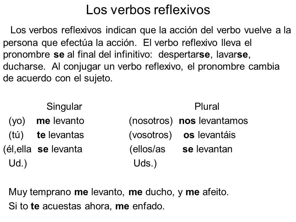Los verbos reflexivos Los verbos reflexivos indican que la acción del verbo vuelve a la persona que efectúa la acción. El verbo reflexivo lleva el pro