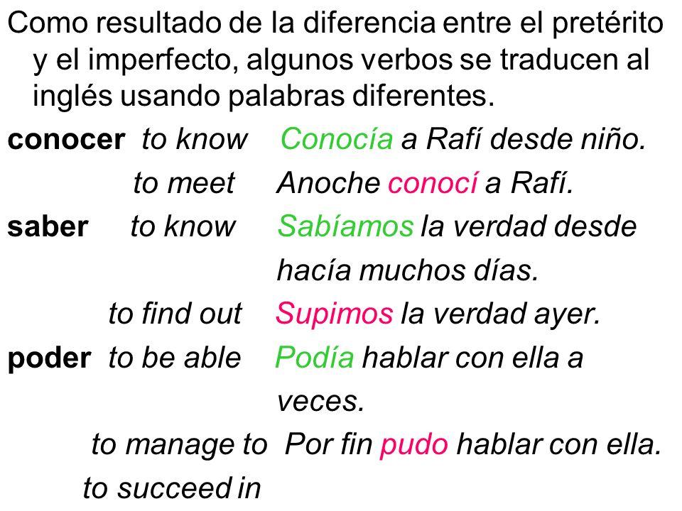 Como resultado de la diferencia entre el pretérito y el imperfecto, algunos verbos se traducen al inglés usando palabras diferentes. conocer to know C