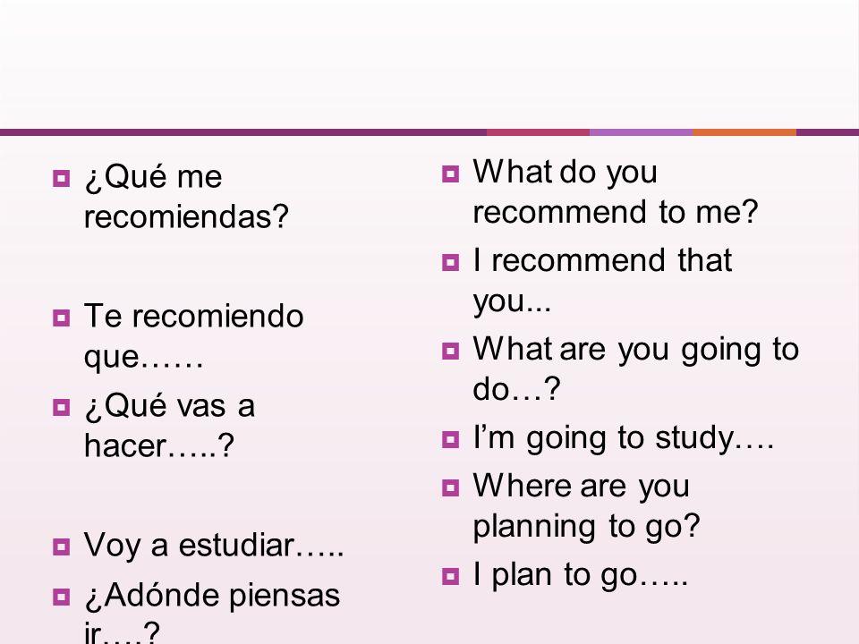 ¿Qué me recomiendas.Te recomiendo que…… ¿Qué vas a hacer…...