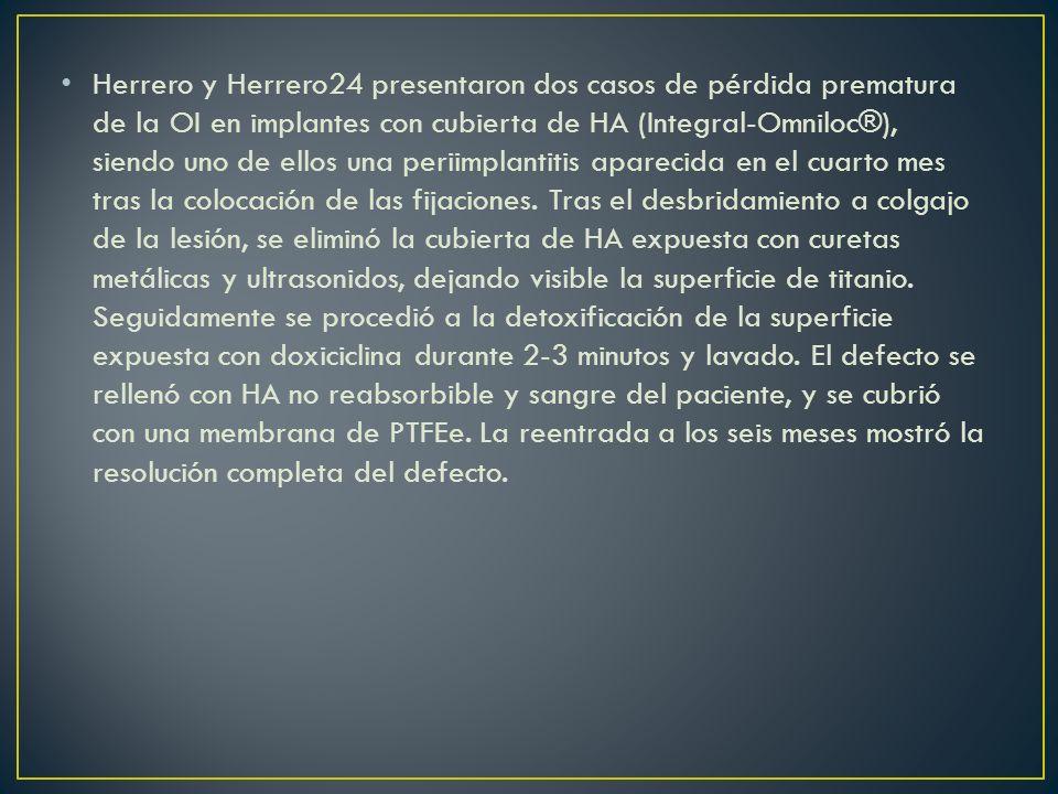 Herrero y Herrero24 presentaron dos casos de pérdida prematura de la OI en implantes con cubierta de HA (Integral-Omniloc®), siendo uno de ellos una p