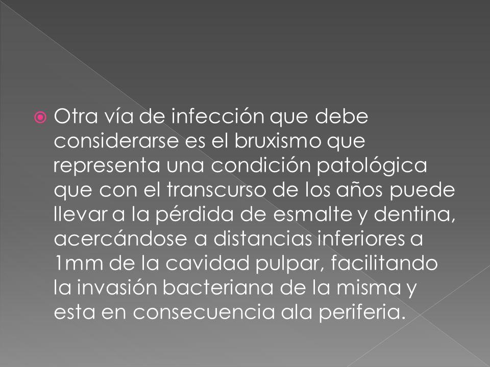 Otra vía de infección que debe considerarse es el bruxismo que representa una condición patológica que con el transcurso de los años puede llevar a la