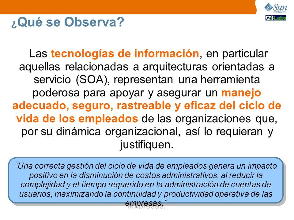¿ Qué se Observa? Las tecnologías de información, en particular aquellas relacionadas a arquitecturas orientadas a servicio (SOA), representan una her