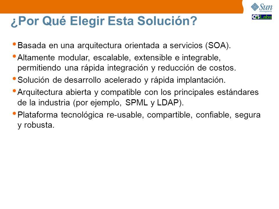 ¿Por Qué Elegir Esta Solución? Basada en una arquitectura orientada a servicios (SOA). Altamente modular, escalable, extensible e integrable, permitie