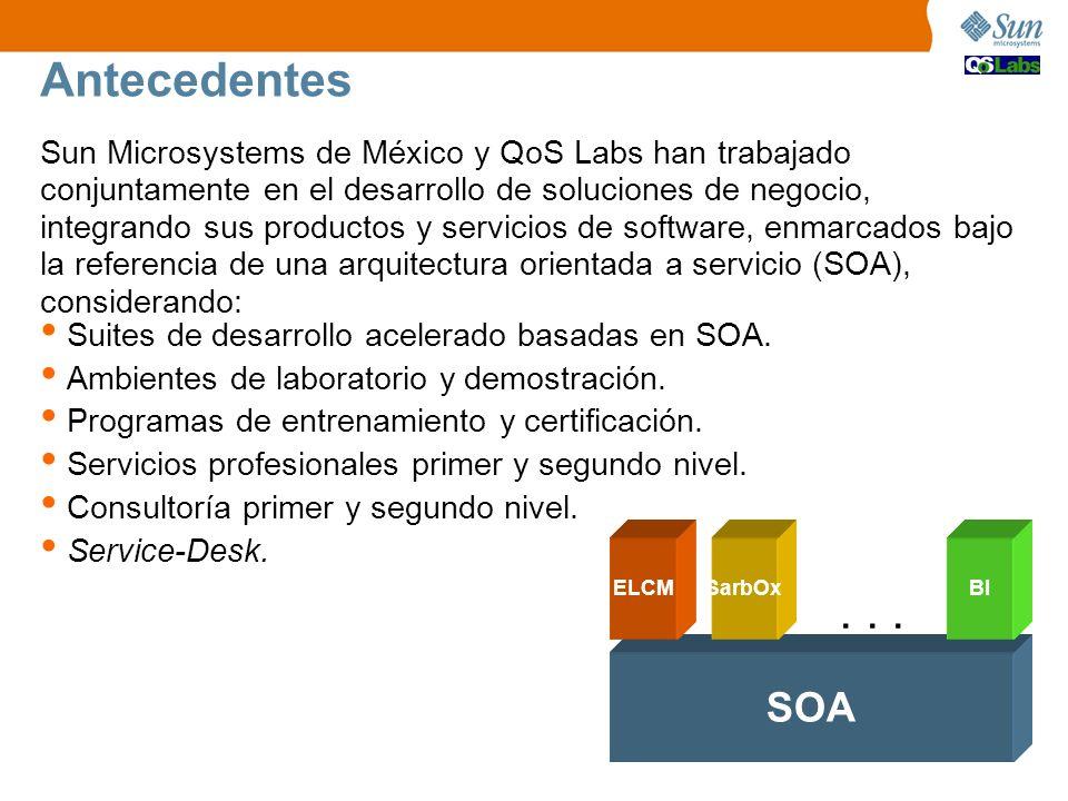 Antecedentes Sun Microsystems de México y QoS Labs han trabajado conjuntamente en el desarrollo de soluciones de negocio, integrando sus productos y servicios de software, enmarcados bajo la referencia de una arquitectura orientada a servicio (SOA), considerando: SOA ELCMSarbOxBI...