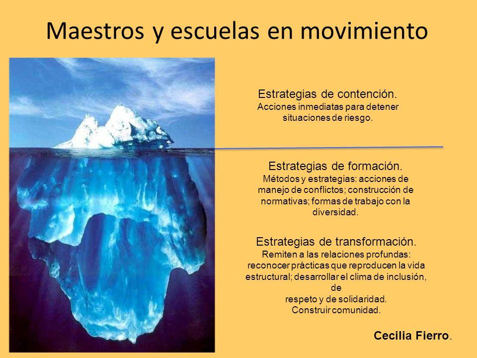 Maestros y escuelas en movimiento Estrategias de contención. Acciones inmediatas para detener situaciones de riesgo. Estrategias de formación. Métodos