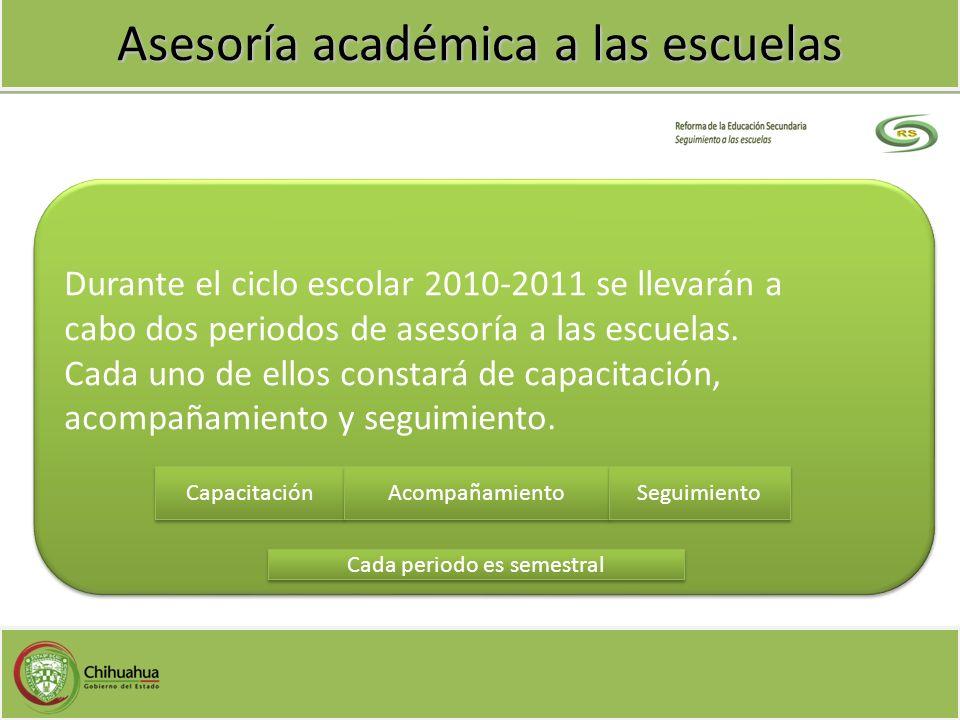 Asesoría académica a las escuelas Durante el ciclo escolar 2010-2011 se llevarán a cabo dos periodos de asesoría a las escuelas. Cada uno de ellos con