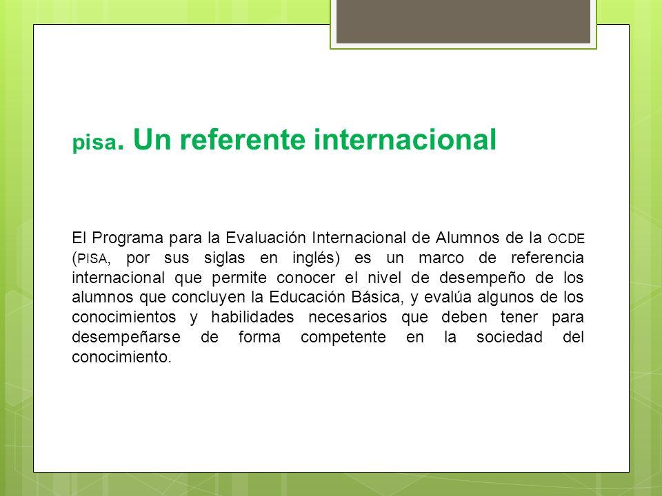 pisa. Un referente internacional El Programa para la Evaluación Internacional de Alumnos de la OCDE ( PISA, por sus siglas en inglés) es un marco de r