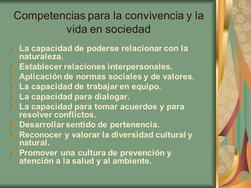 Competencias para la convivencia y la vida en sociedad La capacidad de poderse relacionar con la naturaleza. Establecer relaciones interpersonales. Ap