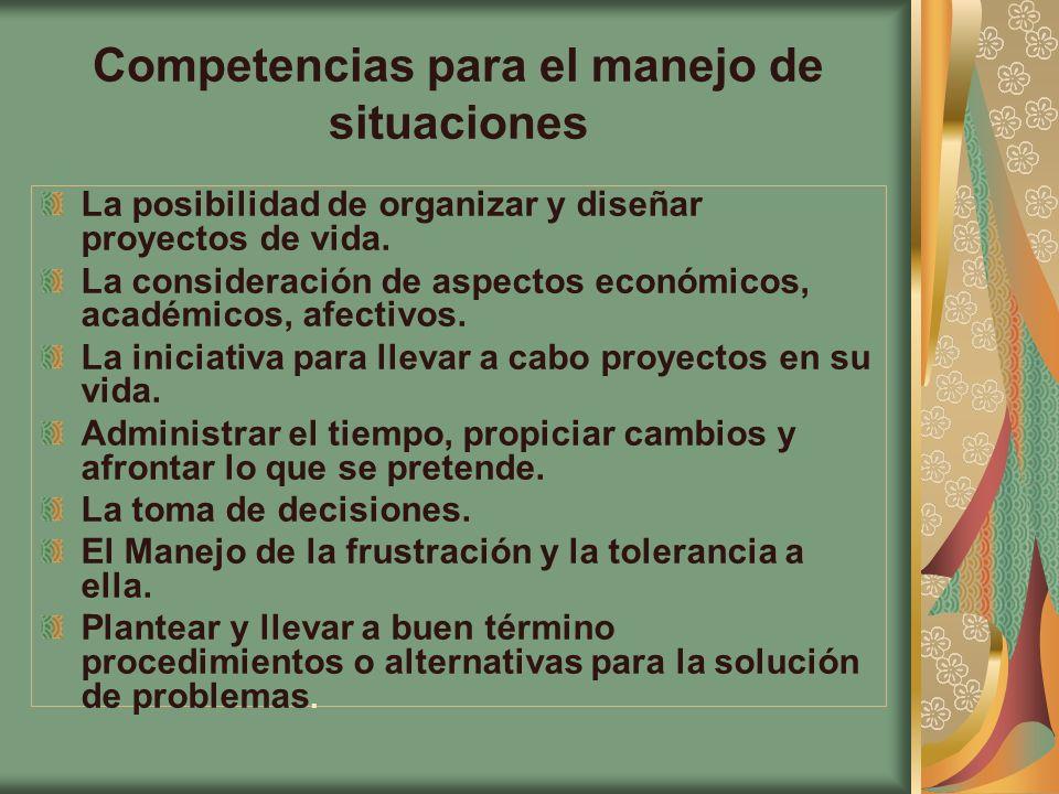 Competencias para el manejo de situaciones La posibilidad de organizar y diseñar proyectos de vida. La consideración de aspectos económicos, académico