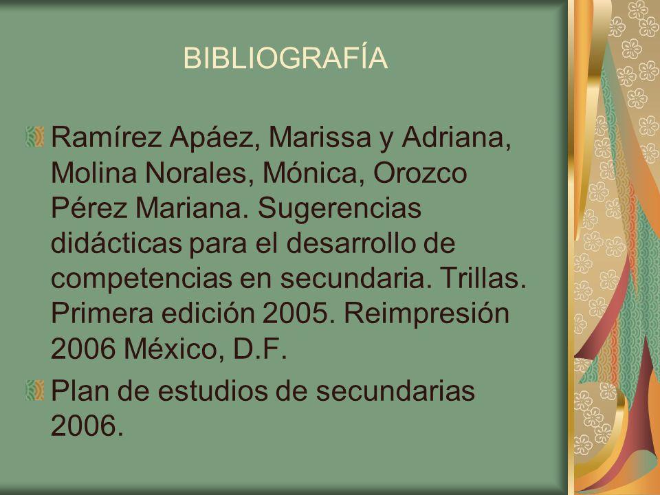 BIBLIOGRAFÍA Ramírez Apáez, Marissa y Adriana, Molina Norales, Mónica, Orozco Pérez Mariana. Sugerencias didácticas para el desarrollo de competencias