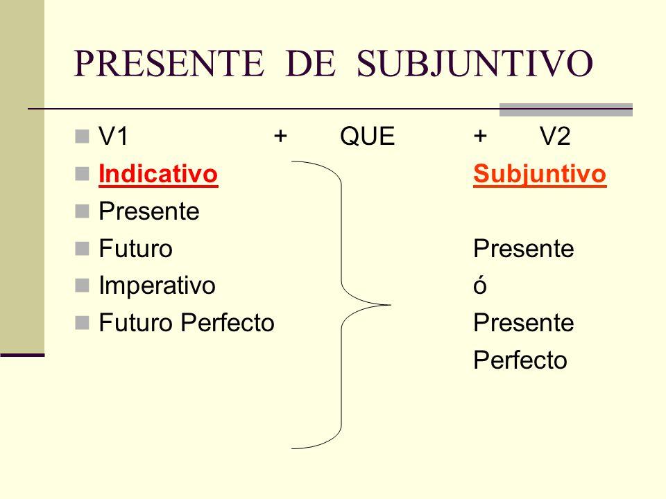 PRESENTE DE SUBJUNTIVO V1+QUE+V2 IndicativoSubjuntivo Presente Futuro Presente Imperativoó Futuro PerfectoPresente Perfecto