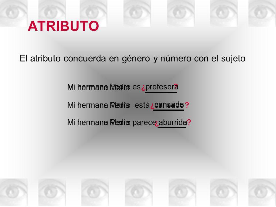 ATRIBUTO El atributo es obligatorio en los predicados nominales Gracielaesmi amiga ….