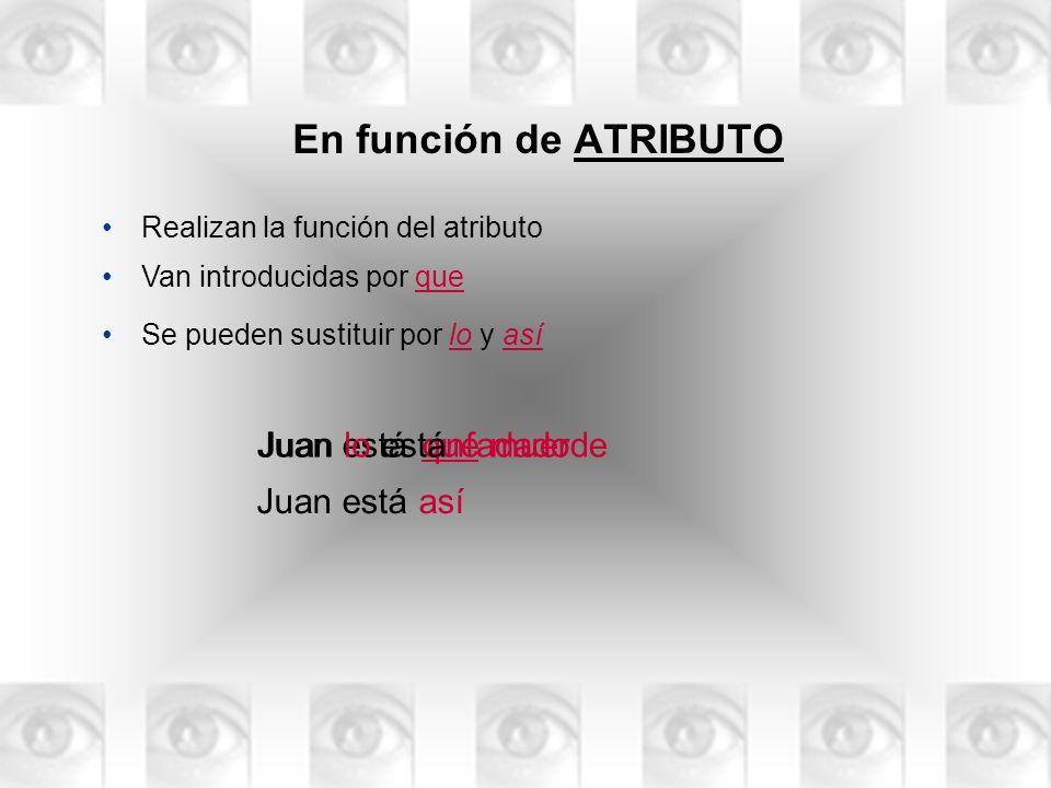 En función de ATRIBUTO Realizan la función del atributo Juan estáenfadado que muerde Se pueden sustituir por lo y así Van introducidas por que Juan es