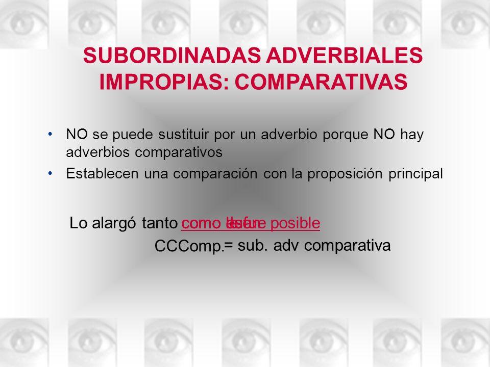 SUBORDINADAS ADVERBIALES IMPROPIAS: COMPARATIVAS NO se puede sustituir por un adverbio porque NO hay adverbios comparativos Establecen una comparación