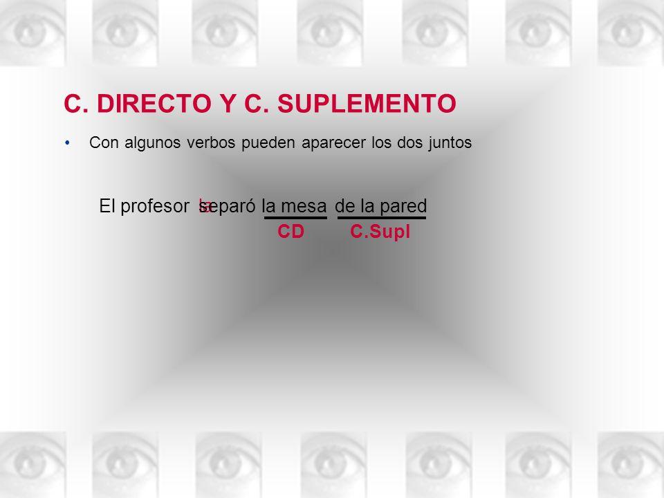 C. DIRECTO Y C. SUPLEMENTO Con algunos verbos pueden aparecer los dos juntos El profesorla mesa la separóde la pared CDC.Supl