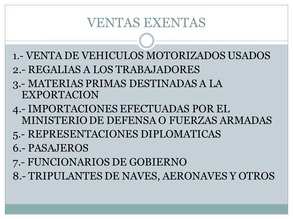 VENTAS EXENTAS 1.- VENTA DE VEHICULOS MOTORIZADOS USADOS 2.- REGALIAS A LOS TRABAJADORES 3.- MATERIAS PRIMAS DESTINADAS A LA EXPORTACION 4.- IMPORTACI