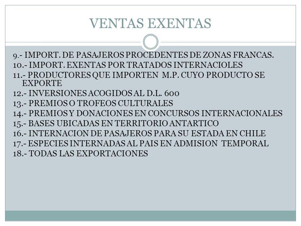 SERVICIOS EXENTOS 1.- ENTRADAS A CIERTOS ESPECTACULOS 2.- FLETES MARITIMOS Y OTROS 3.- PRIMAS DE SEGUROS POR IMPORTACIONES Y EXPORTACIONES 4.- PRIMAS DE SEGUROS POR TERREMOTOS O INCENDIOS ORIGINADOS POR ESTOS 5.- PRIMAS DE SEGUROS AEREOS CONTRATADOS DENTRO DEL PAIS 6.- COMISIONES POR CREDITOS HIPOTECARIOS 7.- LOS INGRESOS QUE NO CONSTITUYEN RENTA SEGÚN LEY DE LA RENTA 8.- LOS INGRESOS POR RENTAS DEL TRABAJO