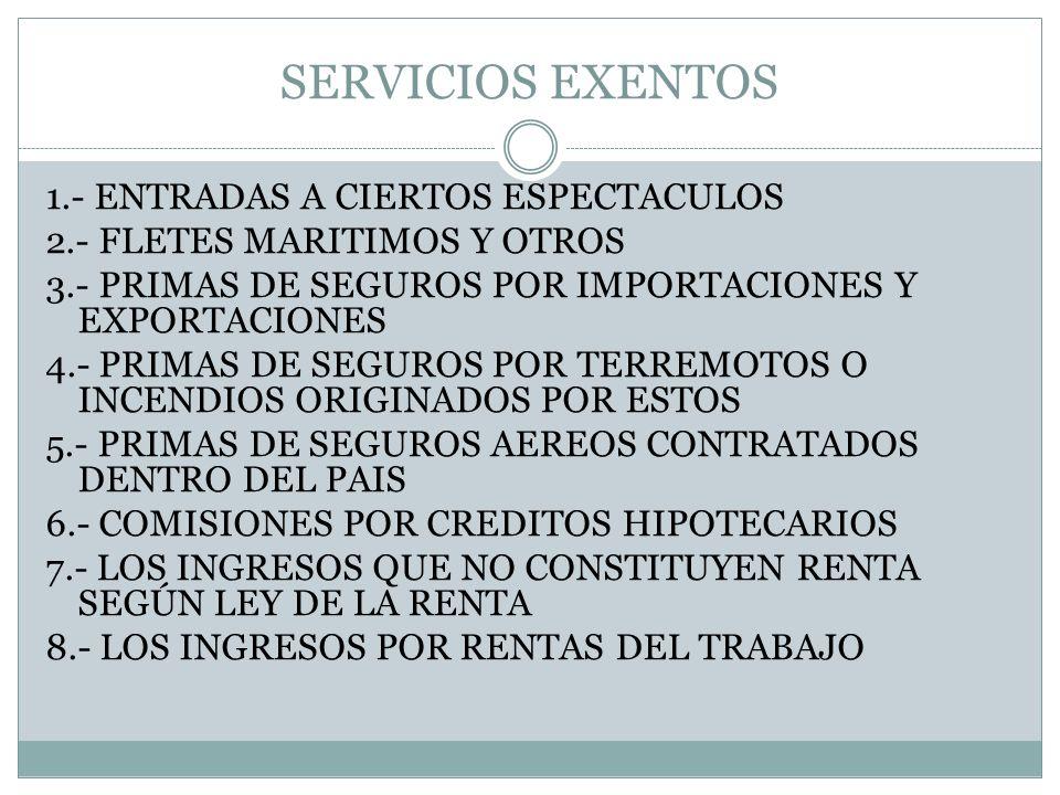 SERVICIOS EXENTOS 9.- INTERESES DE INSTRUMENTOS FINANCIERO Y DE CREDITO DE CUALQUIER NATURALEZA 10.- ARRENDAMIENTO DE INMUEBLES 11.- SERVICIOS PRESTADOS POR TRABAJADORES QUE LABOREN SOLOS 12.- SERVICIOS RELACIONADOS CON LA EXPORTACION DE PRODUCTOS 13.- CONTRATOS DE REASEGURO 14.- PRIMAS DE SEGUROS DE VIDA REAJUSTABLES 15.- SERVICIOS CALIFICADOS DE EXPORTACIONES 16.- SS.