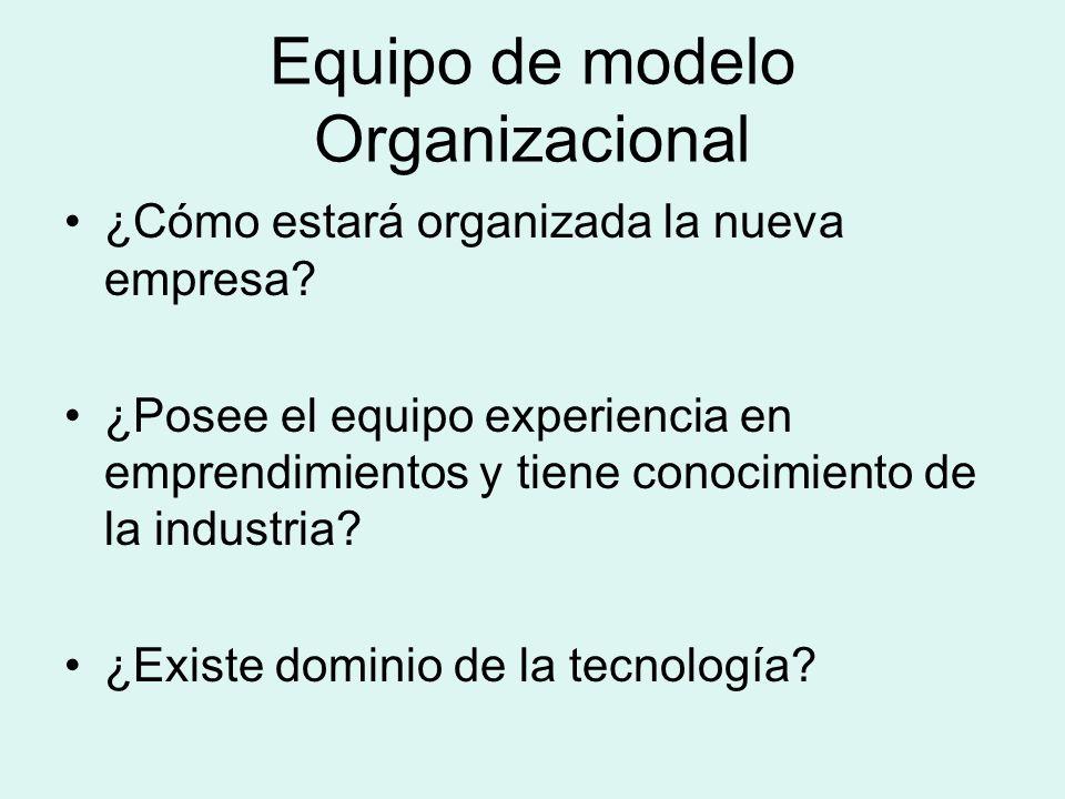 Equipo de modelo Organizacional ¿Cómo estará organizada la nueva empresa? ¿Posee el equipo experiencia en emprendimientos y tiene conocimiento de la i