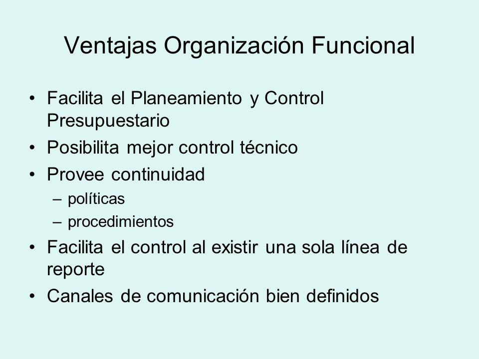 Ventajas Organización Funcional Facilita el Planeamiento y Control Presupuestario Posibilita mejor control técnico Provee continuidad –políticas –proc