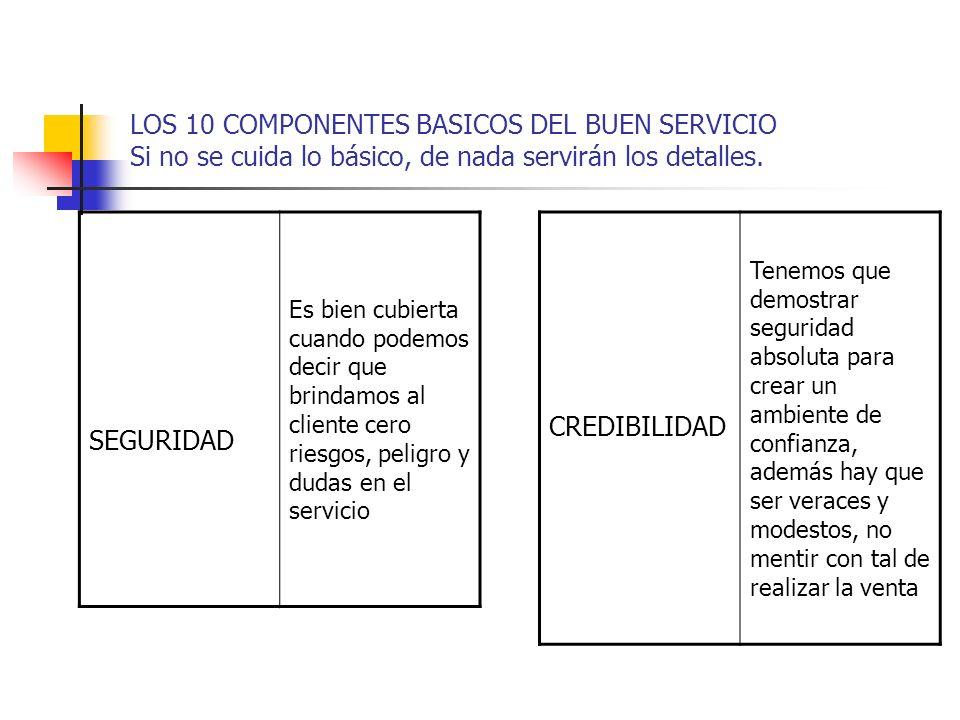 LOS 10 COMPONENTES BASICOS DEL BUEN SERVICIO Si no se cuida lo básico, de nada servirán los detalles. SEGURIDAD Es bien cubierta cuando podemos decir