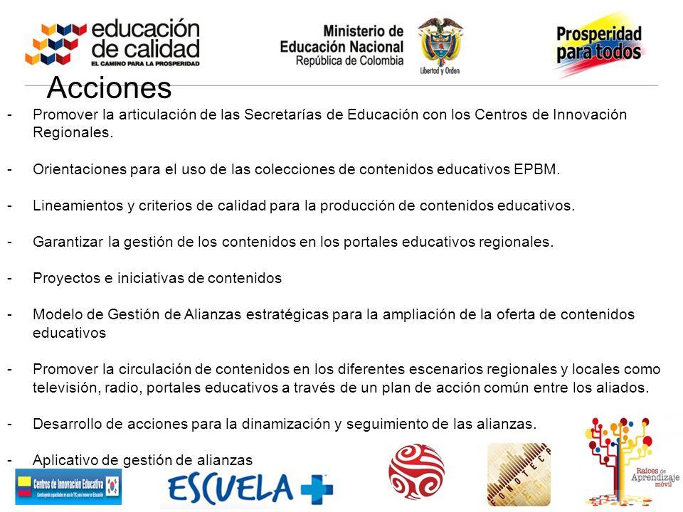 Acciones -Promover la articulación de las Secretarías de Educación con los Centros de Innovación Regionales. -Orientaciones para el uso de las colecci
