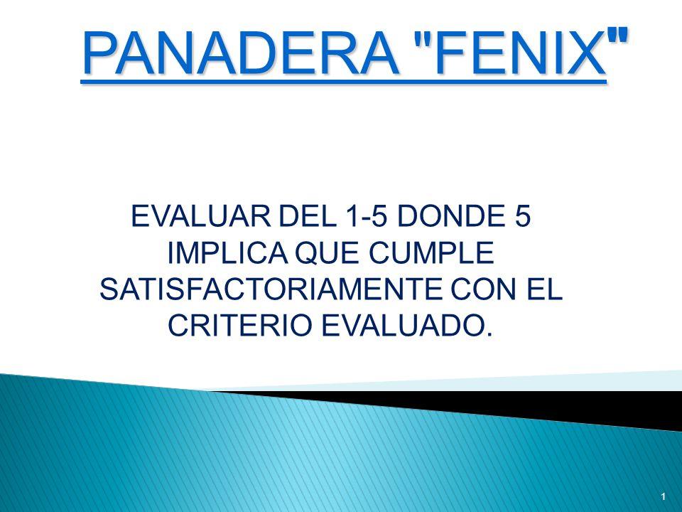1 PANADERA FENIX EVALUAR DEL 1-5 DONDE 5 IMPLICA QUE CUMPLE SATISFACTORIAMENTE CON EL CRITERIO EVALUADO.