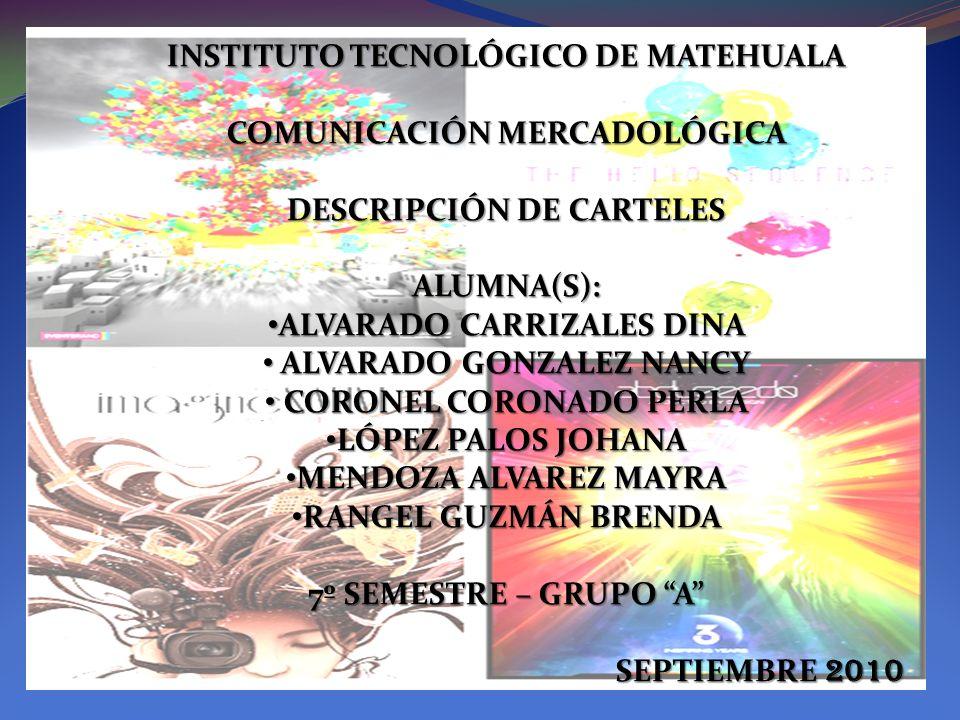 INSTITUTO TECNOLÓGICO DE MATEHUALA COMUNICACIÓN MERCADOLÓGICA DESCRIPCIÓN DE CARTELES ALUMNA(S): ALVARADO CARRIZALES DINA ALVARADO CARRIZALES DINA ALV