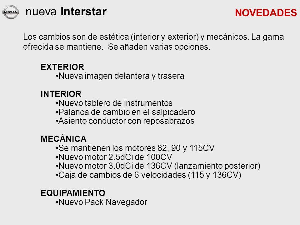 nueva Interstar EXTERIOR Nueva imagen delantera y trasera INTERIOR Nuevo tablero de instrumentos Palanca de cambio en el salpicadero Asiento conductor con reposabrazos MECÁNICA Se mantienen los motores 82, 90 y 115CV Nuevo motor 2.5dCi de 100CV Nuevo motor 3.0dCi de 136CV (lanzamiento posterior) Caja de cambios de 6 velocidades (115 y 136CV) EQUIPAMIENTO Nuevo Pack Navegador NOVEDADES Los cambios son de estética (interior y exterior) y mecánicos.