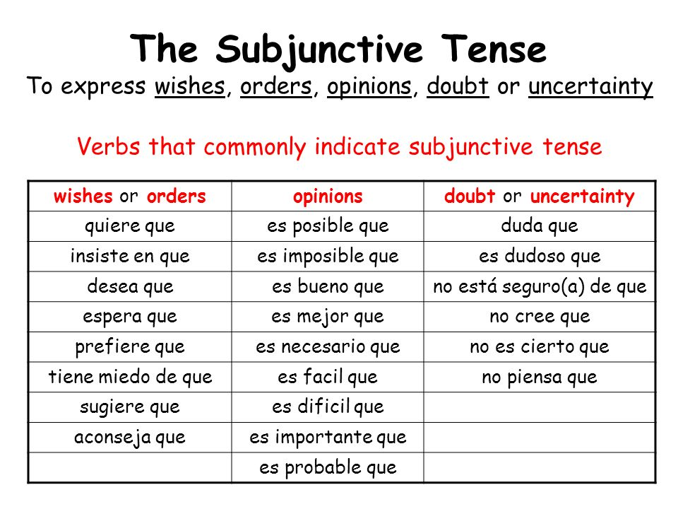 The Subjunctive Tense To express wishes, orders, opinions, doubt or uncertainty Verbs that commonly indicate subjunctive tense wishes or ordersopinion