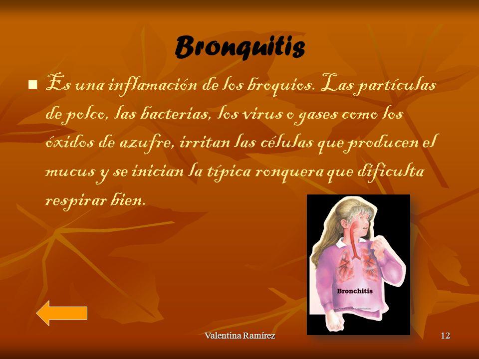 Bronquitis Es una inflamación de los broquios. Las partículas de polco, las bacterias, los virus o gases como los óxidos de azufre, irritan las célula
