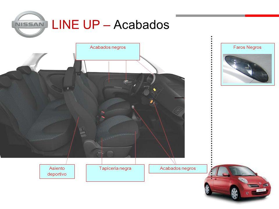 LINE UP – Acabados Asiento deportivo Tapiceria negraAcabados negros Faros Negros