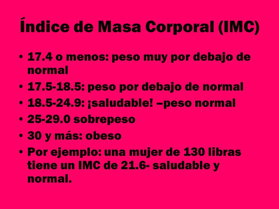 Índice de Masa Corporal (IMC) 17.4 o menos: peso muy por debajo de normal 17.5-18.5: peso por debajo de normal 18.5-24.9: ¡saludable! –peso normal 25-