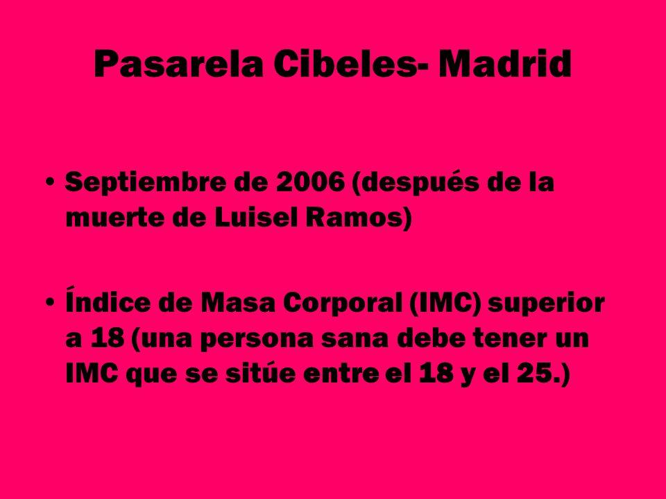 Pasarela Cibeles- Madrid Septiembre de 2006 (después de la muerte de Luisel Ramos) Índice de Masa Corporal (IMC) superior a 18 (una persona sana debe
