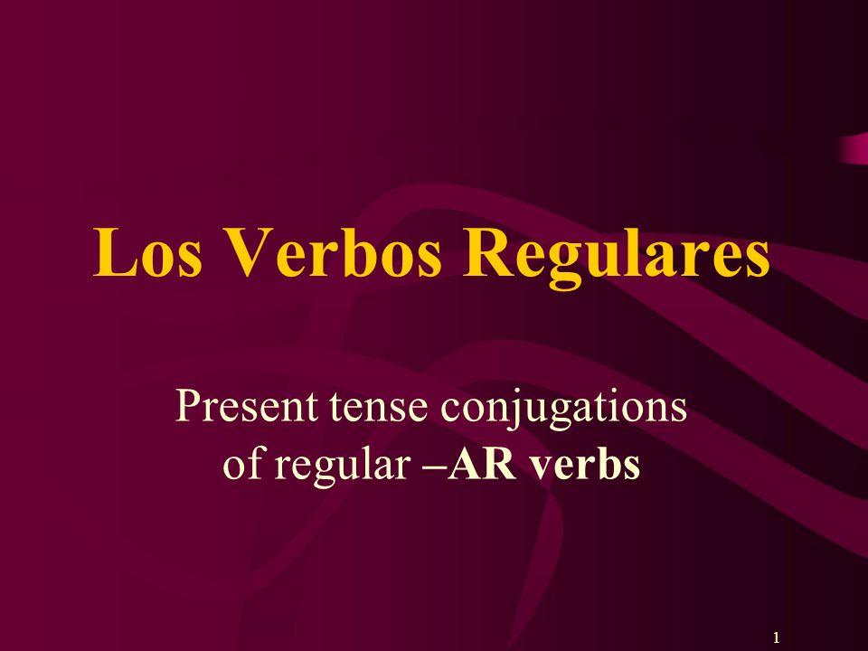 22 Every verb has 2 parts: Hablar= habl- Practicar= practi- Estudiar= estudi- Trabajar= trabaj- Cocinar= cocin- STEM+ENDING Mirar= mir- Escuchar= escuch- Jugar= jug- Presentar= present- Comprar= compr- + AR