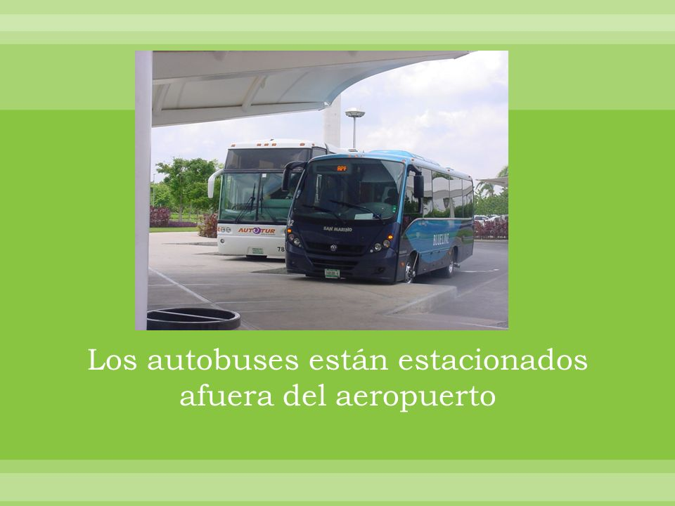 Los autobuses están estacionados afuera del aeropuerto