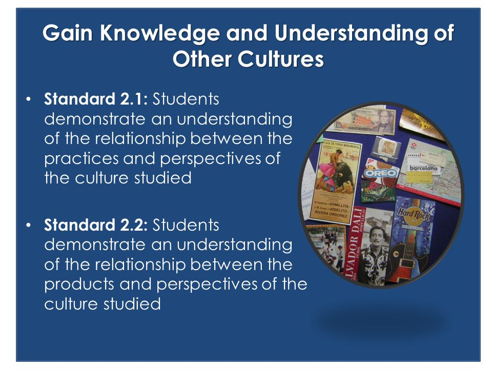 Standard 2.1: Students demonstrate an understanding of the relationship between the practices and perspectives of the culture studied Standard 2.2: St