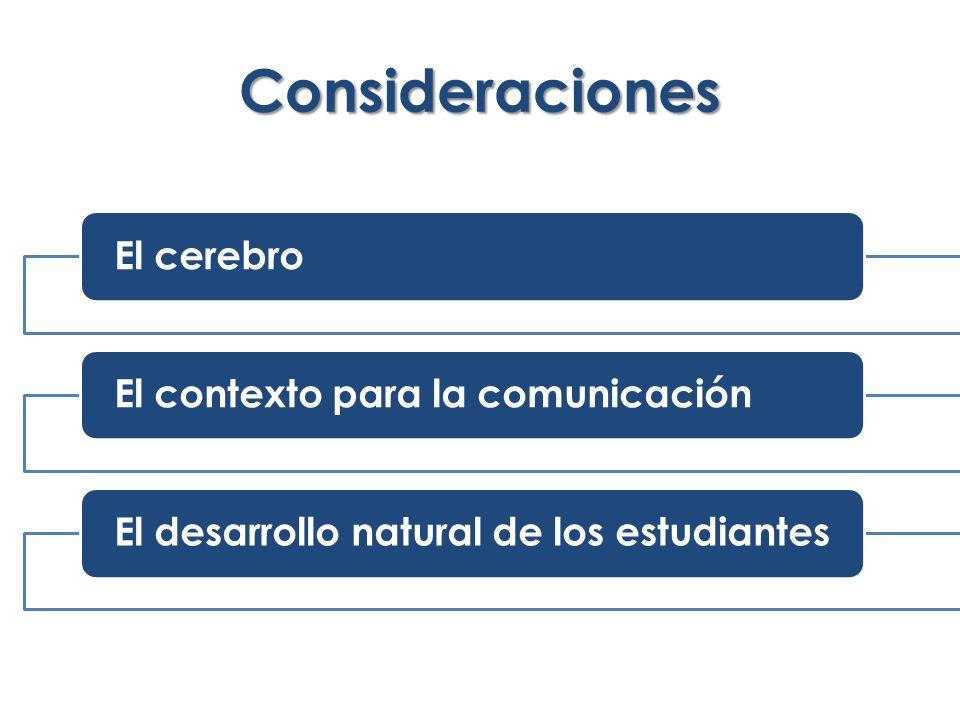 Consideraciones El cerebroEl contexto para la comunicaciónEl desarrollo natural de los estudiantes