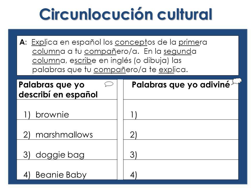 Circunlocución cultural Palabras que yo describí en español Palabras que yo adiviné 1) brownie 1) 2) marshmallows 2) 3) doggie bag 3) 4) Beanie Baby 4) A : Explica en español los conceptos de la primera columna a tu compañero/a.