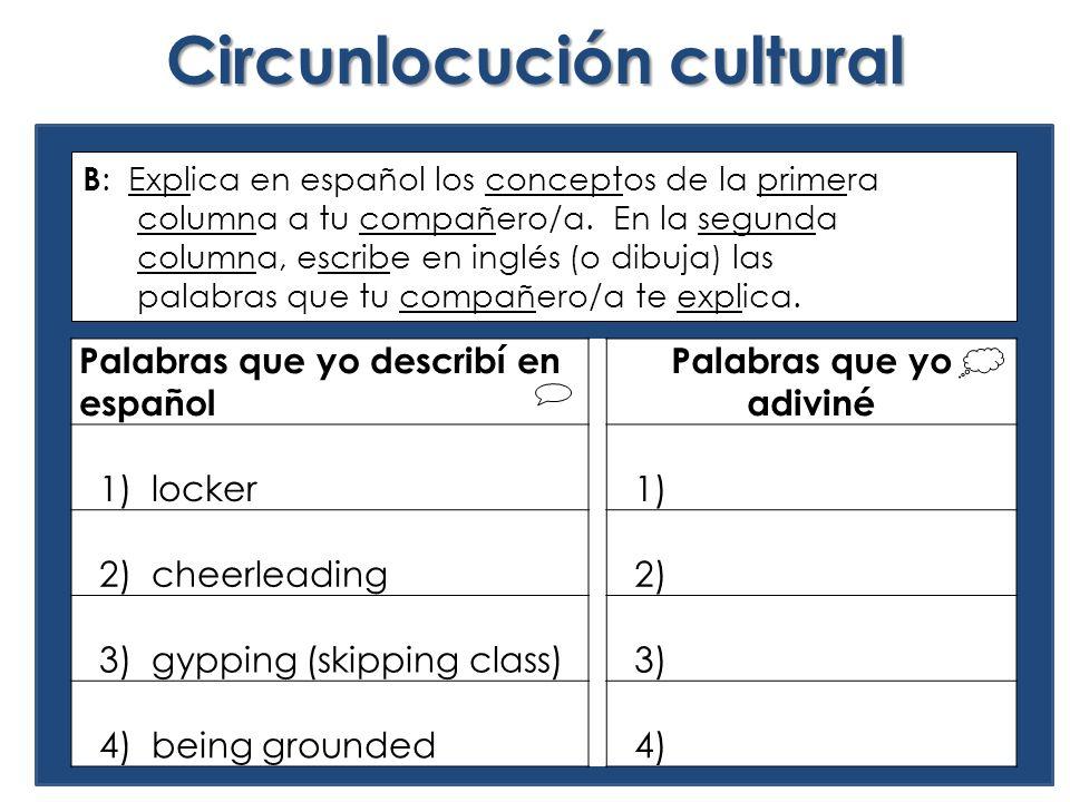Circunlocución cultural Palabras que yo describí en español Palabras que yo adiviné 1) locker 1) 2) cheerleading 2) 3) gypping (skipping class) 3) 4) being grounded 4) B : Explica en español los conceptos de la primera columna a tu compañero/a.