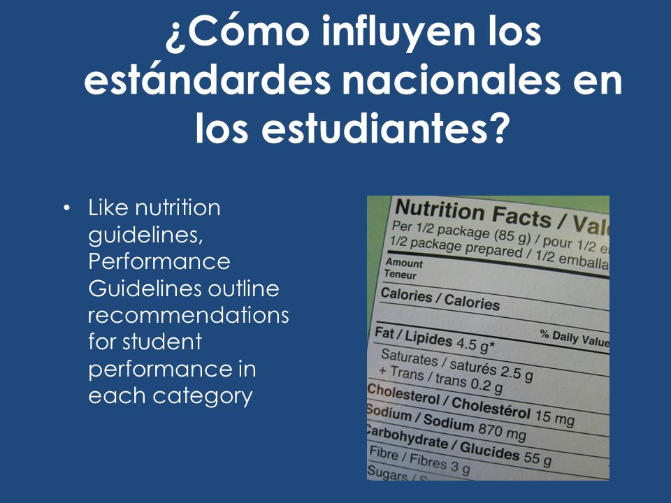 ¿Cómo influyen los estándardes nacionales en los estudiantes? Like nutrition guidelines, Performance Guidelines outline recommendations for student pe