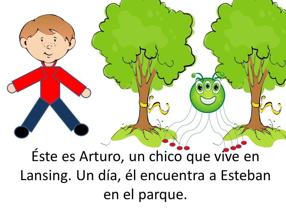 Éste es Arturo, un chico que vive en Lansing. Un día, él encuentra a Esteban en el parque.