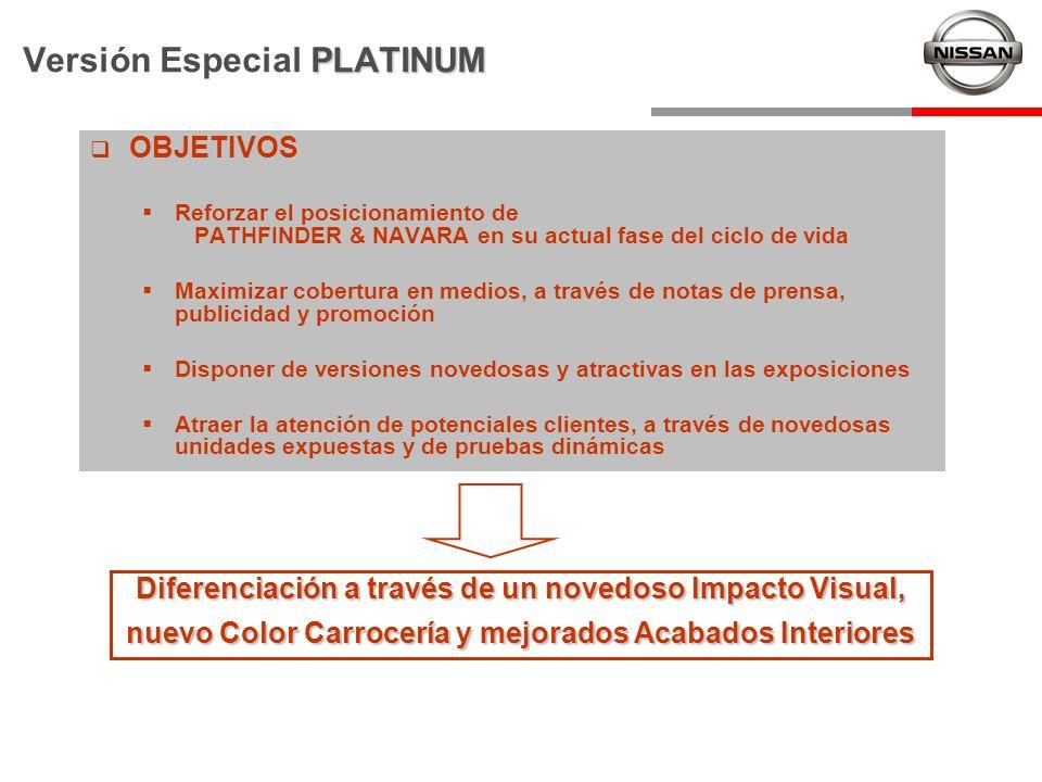 PLATINUM Versión Especial PLATINUM OBJETIVOS Reforzar el posicionamiento de PATHFINDER & NAVARA en su actual fase del ciclo de vida Maximizar cobertur