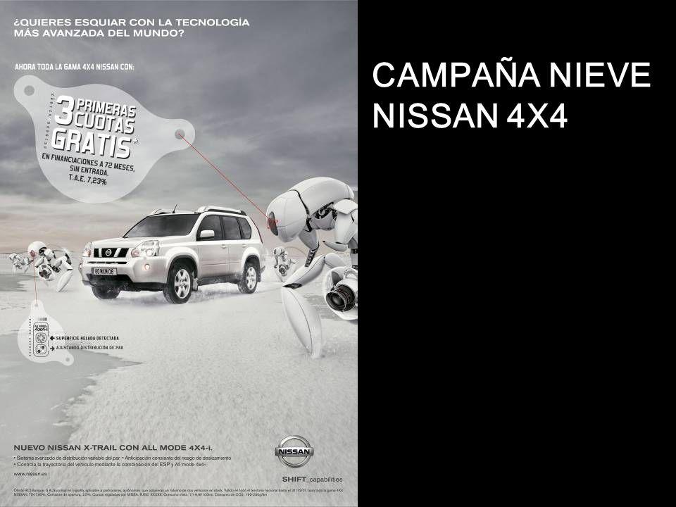 Campaña Nieve – NISSAN 4X4 OBJECTIVOS: 1.Reforzar el tráfico para toda la gama 4X4 2.