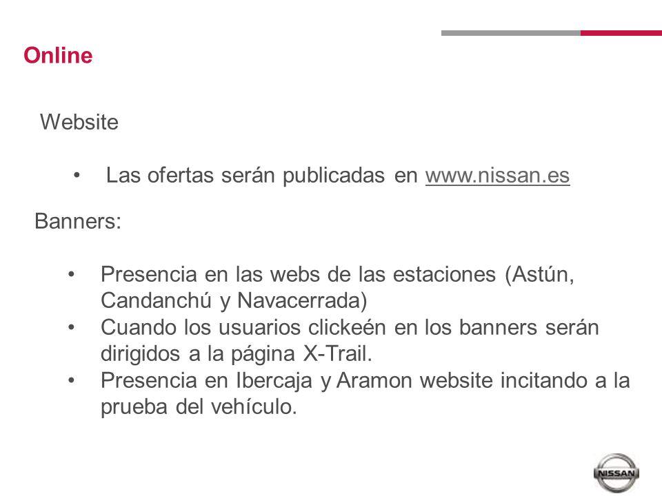 Online Website Las ofertas serán publicadas en www.nissan.eswww.nissan.es Banners: Presencia en las webs de las estaciones (Astún, Candanchú y Navacerrada) Cuando los usuarios clickeén en los banners serán dirigidos a la página X-Trail.