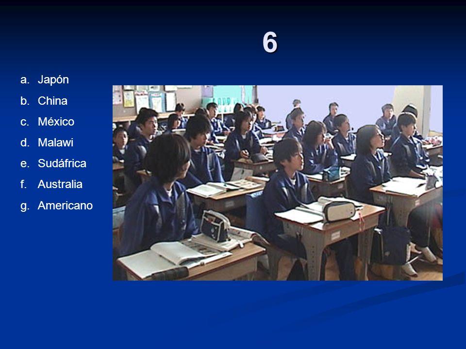 6 a.Japón b.China c.México d.Malawi e.Sudáfrica f.Australia g.Americano