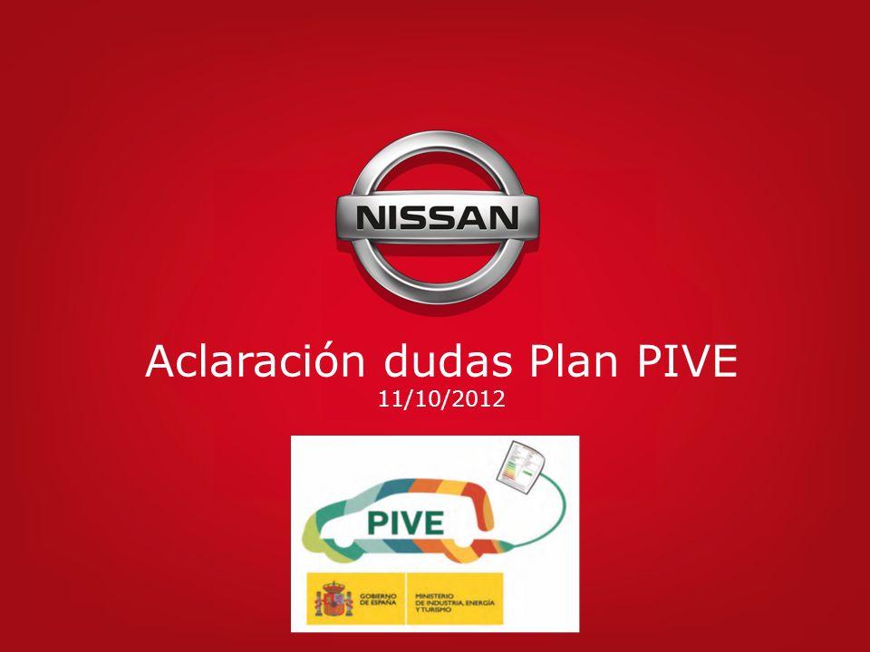Aclaración dudas Plan PIVE 11/10/2012